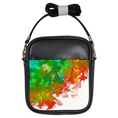 Digitally Painted Messy Paint Background Texture Girls Sling Bags by Simbadda