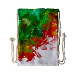 Digitally Painted Messy Paint Background Texture Drawstring Bag (small) by Simbadda