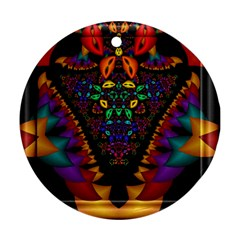 Symmetric Fractal Image In 3d Glass Frame Ornament (round) by Simbadda