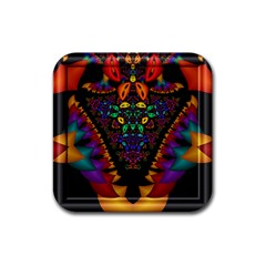 Symmetric Fractal Image In 3d Glass Frame Rubber Square Coaster (4 Pack)  by Simbadda