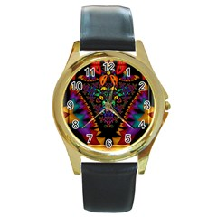 Symmetric Fractal Image In 3d Glass Frame Round Gold Metal Watch by Simbadda