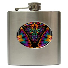 Symmetric Fractal Image In 3d Glass Frame Hip Flask (6 Oz) by Simbadda