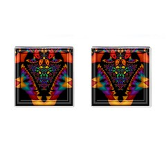 Symmetric Fractal Image In 3d Glass Frame Cufflinks (square) by Simbadda