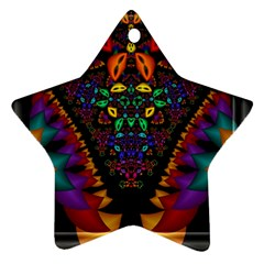 Symmetric Fractal Image In 3d Glass Frame Star Ornament (two Sides)