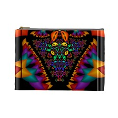 Symmetric Fractal Image In 3d Glass Frame Cosmetic Bag (large)  by Simbadda