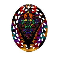 Symmetric Fractal Image In 3d Glass Frame Ornament (oval Filigree) by Simbadda