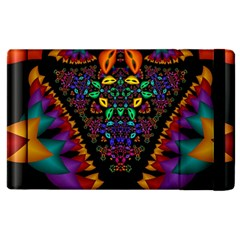 Symmetric Fractal Image In 3d Glass Frame Apple Ipad 3/4 Flip Case by Simbadda