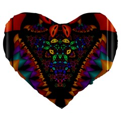 Symmetric Fractal Image In 3d Glass Frame Large 19  Premium Flano Heart Shape Cushions by Simbadda