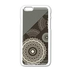 Abstract Mandala Background Pattern Apple Iphone 6/6s White Enamel Case by Simbadda