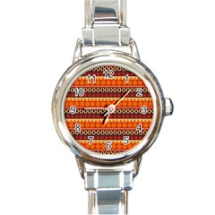 Abstract Lines Seamless Pattern Round Italian Charm Watch by Simbadda