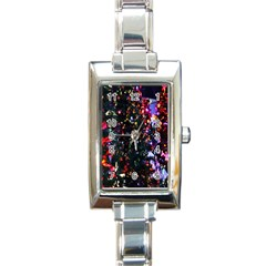 Lit Christmas Trees Prelit Creating A Colorful Pattern Rectangle Italian Charm Watch by Simbadda