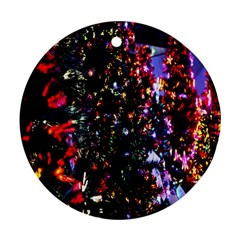 Lit Christmas Trees Prelit Creating A Colorful Pattern Round Ornament (two Sides) by Simbadda