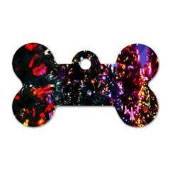Lit Christmas Trees Prelit Creating A Colorful Pattern Dog Tag Bone (one Side) by Simbadda