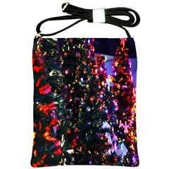 Lit Christmas Trees Prelit Creating A Colorful Pattern Shoulder Sling Bags by Simbadda