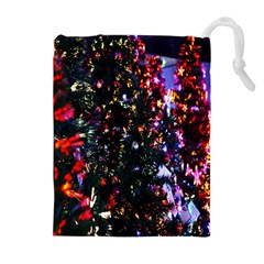 Lit Christmas Trees Prelit Creating A Colorful Pattern Drawstring Pouches (extra Large) by Simbadda