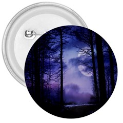 Moonlit A Forest At Night With A Full Moon 3  Buttons by Simbadda