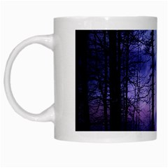 Moonlit A Forest At Night With A Full Moon White Mugs by Simbadda