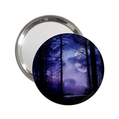 Moonlit A Forest At Night With A Full Moon 2 25  Handbag Mirrors by Simbadda