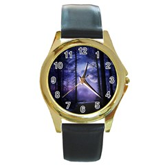 Moonlit A Forest At Night With A Full Moon Round Gold Metal Watch by Simbadda
