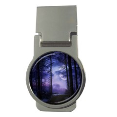 Moonlit A Forest At Night With A Full Moon Money Clips (Round)  by Simbadda