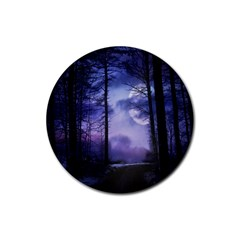 Moonlit A Forest At Night With A Full Moon Rubber Coaster (round)  by Simbadda