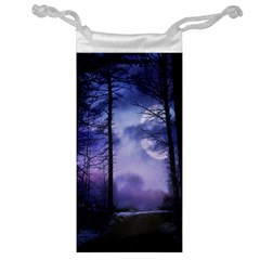 Moonlit A Forest At Night With A Full Moon Jewelry Bag by Simbadda
