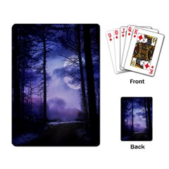 Moonlit A Forest At Night With A Full Moon Playing Card by Simbadda