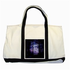 Moonlit A Forest At Night With A Full Moon Two Tone Tote Bag by Simbadda