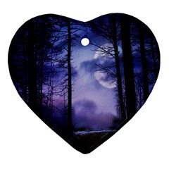 Moonlit A Forest At Night With A Full Moon Heart Ornament (two Sides) by Simbadda