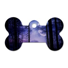 Moonlit A Forest At Night With A Full Moon Dog Tag Bone (two Sides) by Simbadda