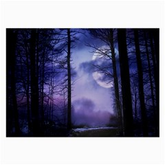Moonlit A Forest At Night With A Full Moon Large Glasses Cloth by Simbadda