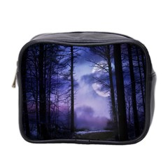 Moonlit A Forest At Night With A Full Moon Mini Toiletries Bag 2 Side by Simbadda