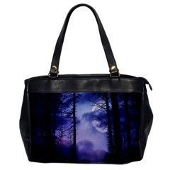 Moonlit A Forest At Night With A Full Moon Office Handbags by Simbadda