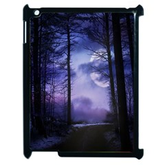Moonlit A Forest At Night With A Full Moon Apple Ipad 2 Case (black) by Simbadda