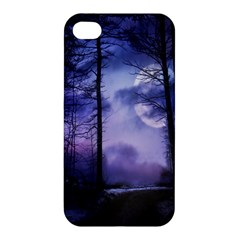 Moonlit A Forest At Night With A Full Moon Apple Iphone 4/4s Hardshell Case by Simbadda