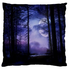 Moonlit A Forest At Night With A Full Moon Large Cushion Case (two Sides) by Simbadda