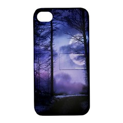 Moonlit A Forest At Night With A Full Moon Apple Iphone 4/4s Hardshell Case With Stand by Simbadda