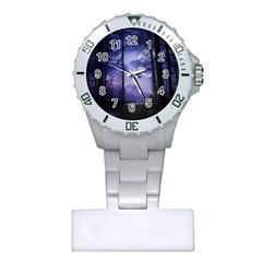 Moonlit A Forest At Night With A Full Moon Plastic Nurses Watch by Simbadda