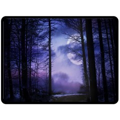 Moonlit A Forest At Night With A Full Moon Double Sided Fleece Blanket (large)  by Simbadda