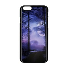 Moonlit A Forest At Night With A Full Moon Apple Iphone 6/6s Black Enamel Case by Simbadda