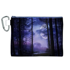 Moonlit A Forest At Night With A Full Moon Canvas Cosmetic Bag (xl) by Simbadda