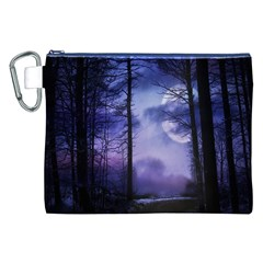 Moonlit A Forest At Night With A Full Moon Canvas Cosmetic Bag (xxl) by Simbadda