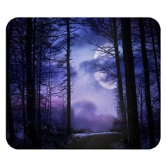 Moonlit A Forest At Night With A Full Moon Double Sided Flano Blanket (small)  by Simbadda