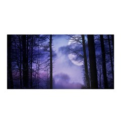 Moonlit A Forest At Night With A Full Moon Satin Wrap by Simbadda
