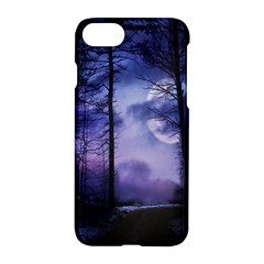 Moonlit A Forest At Night With A Full Moon Apple Iphone 7 Hardshell Case by Simbadda