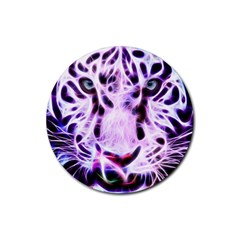 Fractal Wire White Tiger Rubber Coaster (round)  by Simbadda