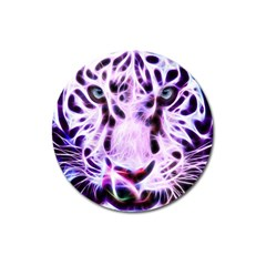 Fractal Wire White Tiger Magnet 3  (round) by Simbadda