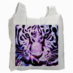 Fractal Wire White Tiger Recycle Bag (two Side)  by Simbadda