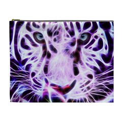 Fractal Wire White Tiger Cosmetic Bag (xl) by Simbadda