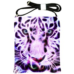 Fractal Wire White Tiger Shoulder Sling Bags by Simbadda